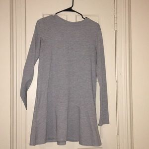 Grey dress with flow at bottom